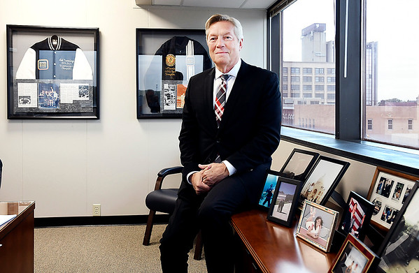 John P. Cleary | The Herald Bulletin<br /> Madison County Prosecutor Rodney Cummings in his office surrounded by visual reminders of his past and his career.