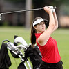 John P. Cleary | The Herald Bulletin<br /> Ellie Anderson, of Alexandria, watches her ball fly to the green on the par 3 eighth hole.
