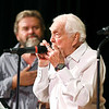John P. Cleary | The Herald Bulletin<br /> Carl Erskine plays his harmonica as the Cops & Robbers Band play at the 29th Little Bit Country Jamboree.