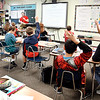 John P. Cleary | The Herald Bulletin<br /> Daleville Elementary School Language Arts teacher Aaron Parkison asks questions of his sixth-grade students during their classroom discussion.