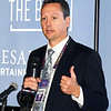 John P. Cleary | The Herald Bulletin<br /> Trent McIntosh, senior vice president and general manager of Enterprise Services for Caesars Entertainment, greets community leaders, employees, Indiana Gaming Commission members and patrons on hand Thursday for the opening of The Book, the new sports betting area at Harrah's Hoosier Park Racing & Casino.<br /> <br /> <br /> Opening of The Book sports betting at Harrah's Hoosier Park Racing & Casino.