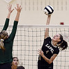John P. Cleary | The Herald Bulletin<br /> Pendleton's Averi Lanman tries to block Lapel's Zoe Freer's shot.