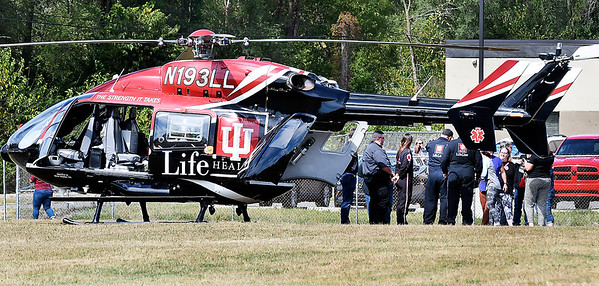 John P. Cleary | The Herald Bulletin<br /> IU Health Life Line medical helicopter landed at the Madison County Central Dispatch Center as part of a training session for the center's dispatchers Tuesday afternoon.