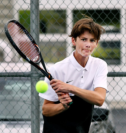 John P. Cleary | The Herald Bulletin<br /> Jake Eppert, Lapel's no. two singles player, follows through on his shot against Shenandoah's Luke Waggener.