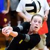 John P. Cleary | The Herald Bulletin<br /> Alexandria's Kaitlyn Bair volleys from the backcourt to setup the net.