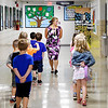 John P. Cleary | The Herald Bulletin<br /> Summitville Elementary School teacher takes her kindergarten class down the hall to the cafeteria for lunch.
