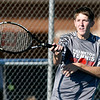 John P. Cleary | The Herald Bulletin<br /> Frankton's Jacob Davenport returns a shot during his match against Alexandria Monday.