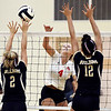 John P. Cleary | The Herald Bulletin<br /> Frankton's #4 Audrey Cleek makes her shot as Emma Anderson and Makynlee Taylor, of Lapel, try to block.