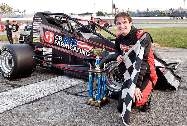 John P. Cleary | The Herald Bulletin<br /> Tyler Roahrig is all smiles after winning the Glen Niebel Classic Thursday evening at Anderson Speedway. The race was resumed on lap 62 from last week where the race was red-flagged for weather.