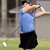 John P. Cleary | The Herald Bulletin<br /> Claudia Leavell, of Elwood, follows her tee shot on the par 5, 12th hole.