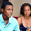John P. Cleary | The Herald Bulletin<br /> De'Shawn Nance, 16, talks about the day almost a month ago he was riding his bike with friends and was struck by a vehicle in a hit and run accident and was severely injured as he mother, Ra'Shia Nance listens.