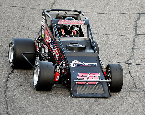John P. Cleary | The Herald Bulletin<br /> The resumption of the Glen Niebel Classic sprint car race at Anderson Speedway Thursday had Tyler Roahrig starting up front and he let all 64 laps of the race to win the event.