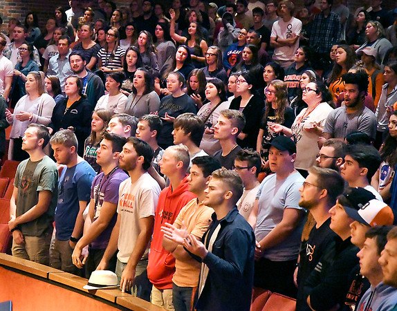 John P. Cleary | The Herald Bulletin<br /> Shot of AU chapel service for Generation Z package.