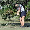 John P. Cleary | The Herald Bulletin<br /> Daleville's Willoe Cunningham has to punch out from under a tree on the par 5, fourth hole at Yule Golf Course Monday after an errant tee shot.
