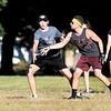 John P. Cleary | The Herald Bulletin<br /> The frisbees was flying as competition in the ultimate frisbee intramural league play heated up Monday afternoon on the Anderson University campus.