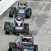John P. Cleary | The Herald Bulletin<br /> Tyler Roahrig leads the pack to the first turn at the resumption of the Glen Niebel Classic Thursday evening. Riahrig led all 64 laps to take the checkered flag.