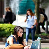 John P. Cleary | The Herald Bulletin<br /> AU students using their laptops, smart phones, and iPads around campus.