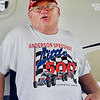 Mike Brogdon, from Michigan, shows off his Little 500 T-shirt from 1985, the year he and his wife Leona started camping at the racetrack for the race, and every year since.