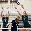 Pendleton's Gabby Ennis and Avery Ross get high to defend the shot of Lapel's Lexi Anderson.