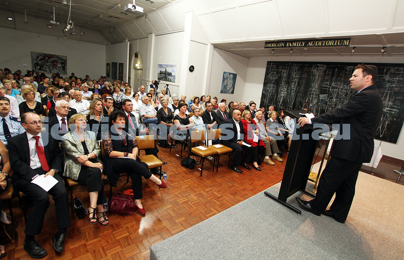 25-1-12. International Day of Commemoration in memory of the Victims of the Holocaust. Jewish Holocaust Centre, Elsternwick. Josh Frydenberg. Photo: Peter Haskin