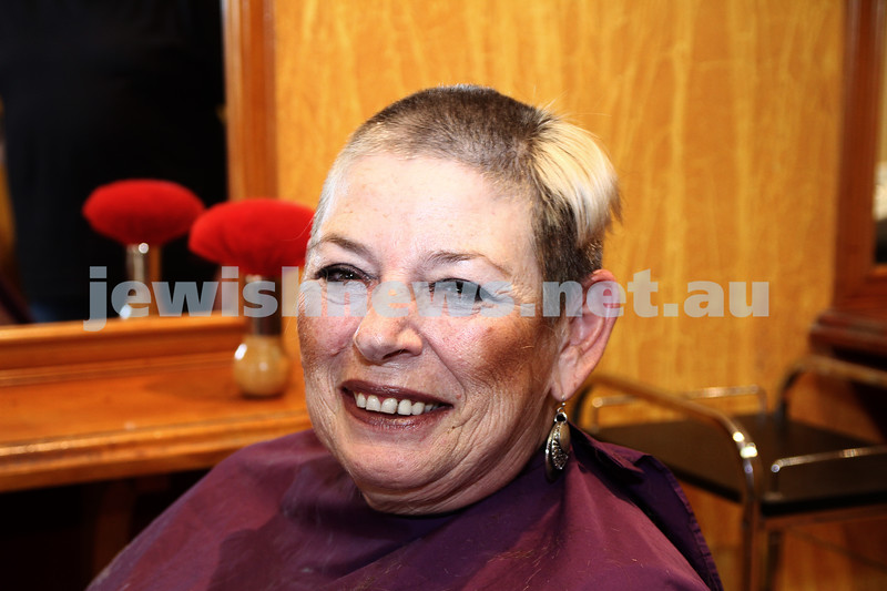 """7-3-12. Betty Kranz having her head shaved by husband Issy to raise money for the annual """"Shave for a cause"""". Photo: Peter Haskin"""