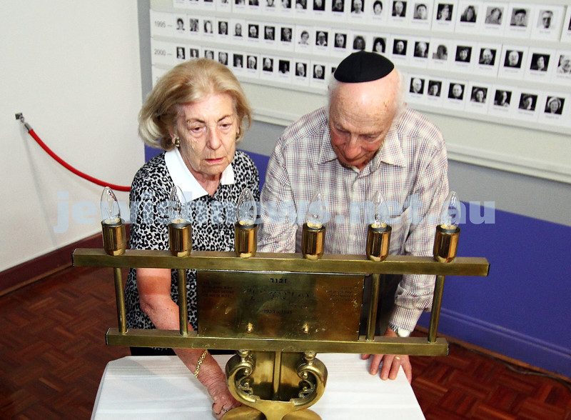25-1-12. International Day of Commemoration in memory of the Victims of the Holocaust. Jewish Holocaust Centre, Elsternwick. Lusia Haberfeld, Joe de Haan. Photo: Peter Haskin