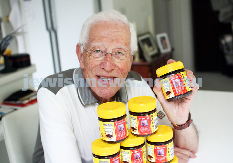 9-1-12. A toast to Dr Peter Schiff. Appearing on 75,000 jars of Vegemite in recognition of his more than 50 years of blood donation with an estimated 1600 lives saved. Photo: Peter Haskin