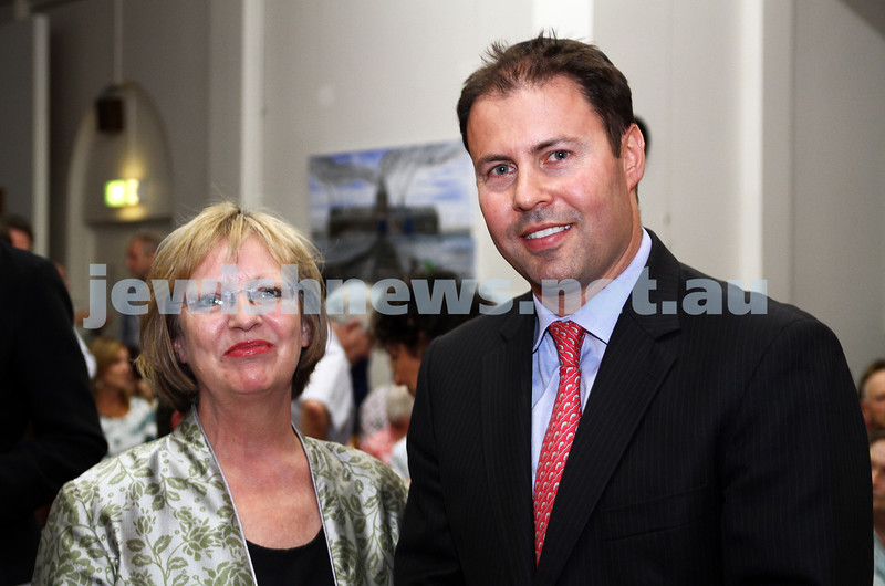 25-1-12. International Day of Commemoration in memory of the Victims of the Holocaust. Jewish Holocaust Centre, Elsternwick. memeber for Kooyong, Josh Frydenberg with the German Consul in Melbourne Dr. Anne-Marie Schleich.  Photo: Peter Haskin