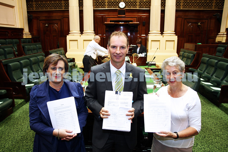 8-2-12. State Member for Caulfield, David Southwick pictured with Sharene Hambur (left) and JCCV President Nina Bassat in Victorian Parliament Chambers where a petition against the BDS movement is being being tabled by David Southwick. Photo: Peter Haskin
