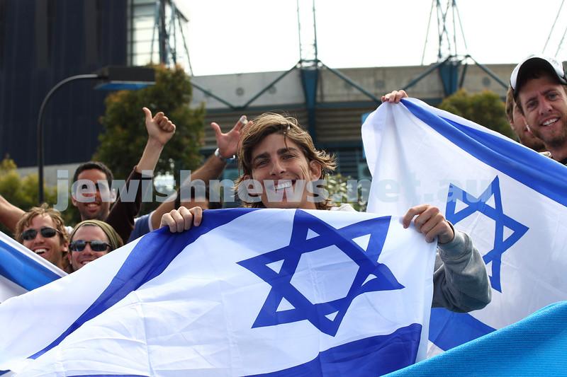 Australian Open Tennis Championships 2010. Israeli flags. Dudi Sela fans. Photo: peter Haskin