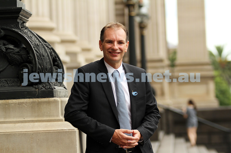 10-2-11. Member for Caulfield David Southwick on the steps of Victoria's Parliament House. Photo: Peter Haskin