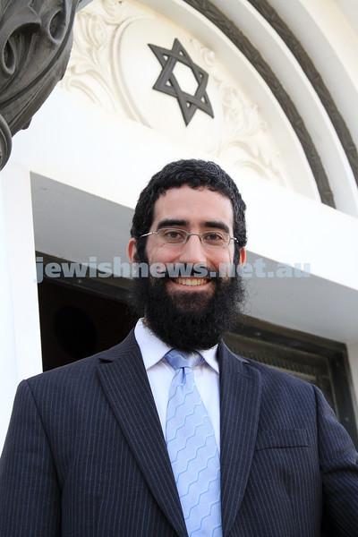 "29-3-11. Newly appointed Rabbi of St Kilda Shul. Rabbi Yaakov Glasman outside his new ""home"". Photo: Peter Haskin"