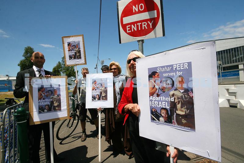 Australian Open Tennis Championships 2010. Pro Palistinian protestors outside Rod Laver Arena in Melbourne. Photo: peter Haskin