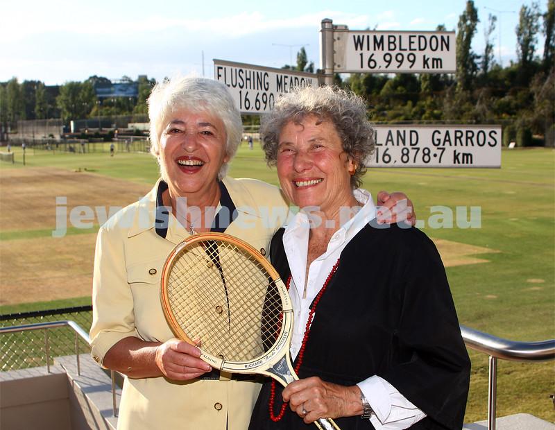 Former Wimbledon opponents and doubles partners, Merlene Gerson (left) and Eva De Jong-Duldig reunite after more than 40 years. Kooyong Tennis club. Photo: peter haskin