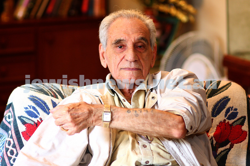 18/1/10. Holocaust survivor George Ginzburg showing the number tattooed on his arm. Photo: Peter Haskin
