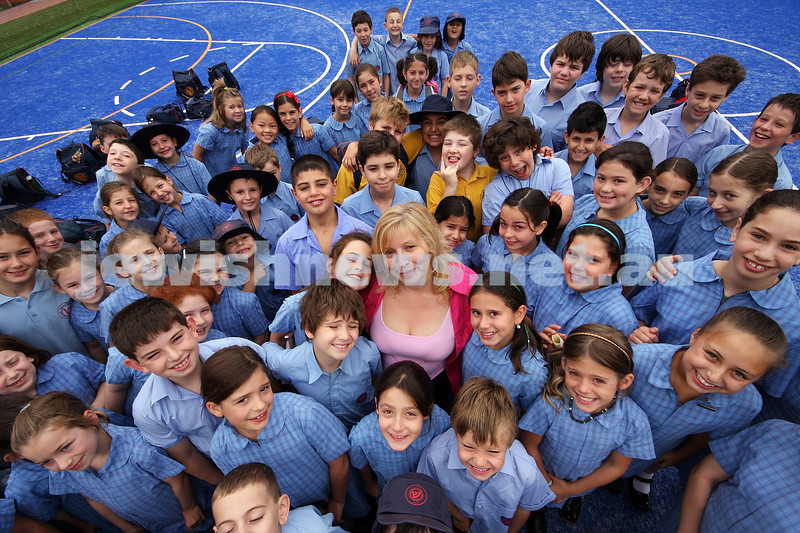 Sholem Aleichem College. Back to school 2009. Principal Helen Bornsztejn surrounded by students. photo: peter haskin