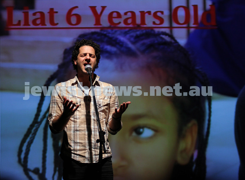 1/8/10. Lior performing at the Bialik concert for Neve Michael. Photo: Peter Haskin