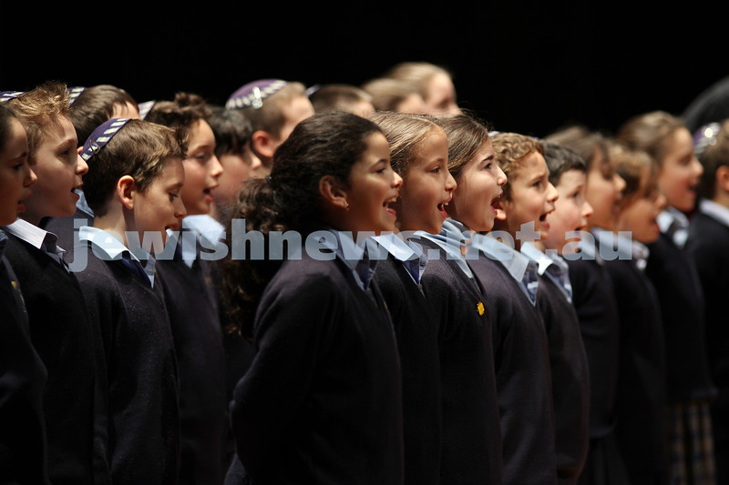 17-8-10. Opening of Leibler Yavneh new College Hall with Senator Stephen Conroy. College Primary Choir. Photo: Peter Haskin