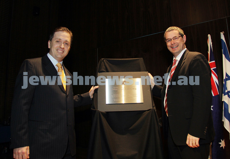 17-8-10. Opening of Leibler Yavneh new College Hall with Senator Stephen Conroy. Jonathan Wenig (left) and Stephen Conroy unveil plaque. Photo: Peter Haskin