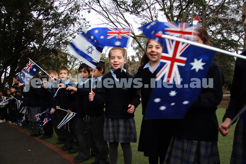17-8-10. Opening of Leibler Yavneh new College Hall with Senator Stephen Conroy. Students with flags. Photo: Peter Haskin