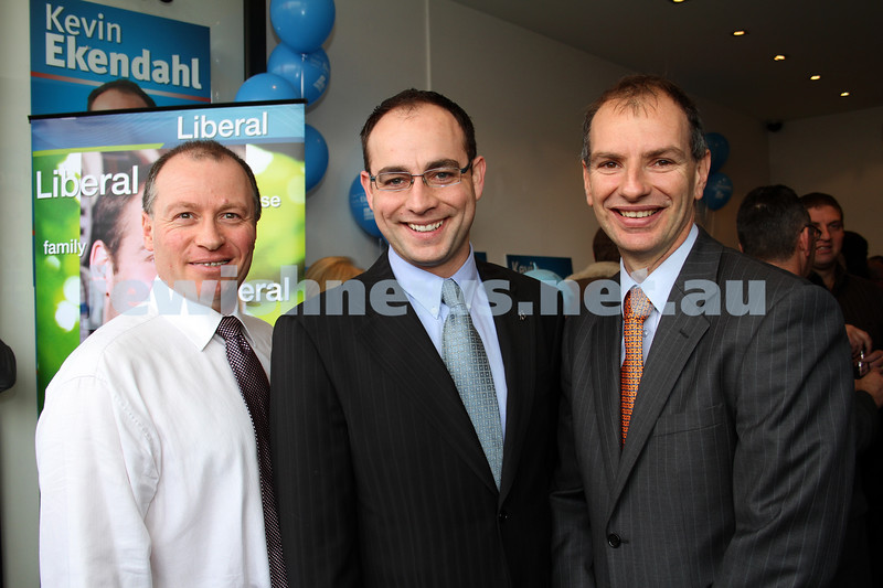 29-7-10. The 3 amigos. Melbourne Ports Liberal candidates past and present. Adam Held (left) and David Southwick (right), flank current Melbourne Port's candidate Kevin Ekendahl at his campaign launch. Photo: Peter Haskin
