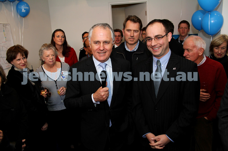 29-7-10. Campaign launch for Melbourne Ports Liberal candidate Kevin Ekendahl. Malcolm Turnbull (left), Kevin Ekendahl. Photo: Peter Haskin