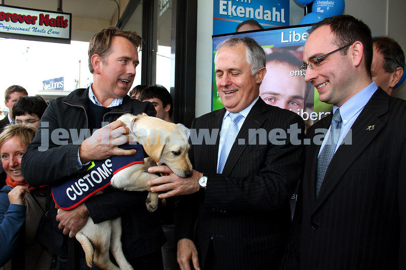 29-7-10. Campaign launch for Melbourne Ports Liberal candidate Kevin Ekendahl. Malcolm Turnbull (middle), Kevin Ekendahl. Photo: Peter Haskin