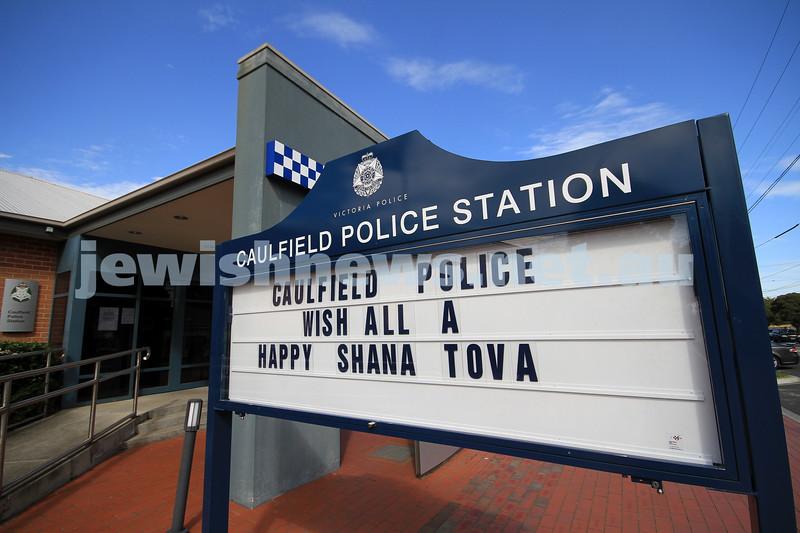 8-9-10. Caulfield Police station. Shana tova greeting. Photo: Peter Haskin