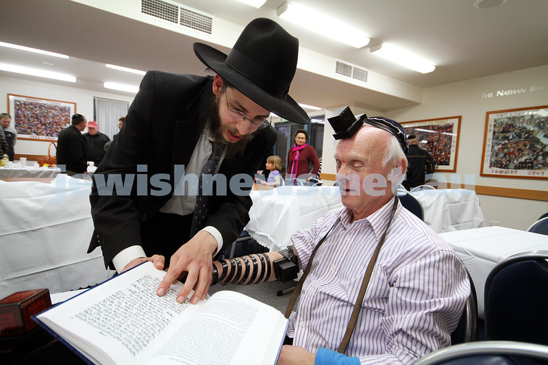 5-9-10. Jewish Care Disability Services. Rosh Hashanah service and kiddush at Malvern Chabad. David Fajgenbaum laying tephillin. Photo: Peter Haskin
