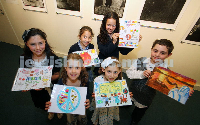 12-10-10. Finalists of the AJN Rosh Ha shana card competiton. From left: Talia Steinberg, Allie Basser, Leah Althaus, Natalie Adler, Miriam Rotblat,  Matthew Kolomeysky (wiiner), Photo: Peter Haskin