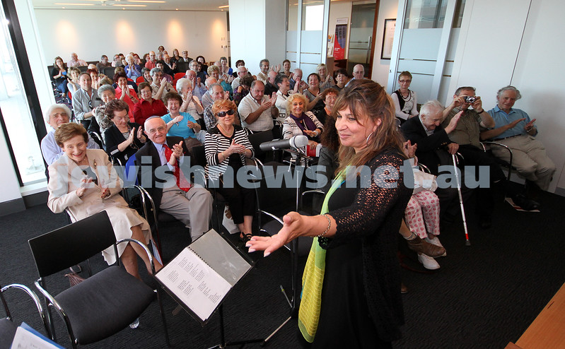 21-11-10. Australian Centre for Jewish Civilisation. Launch of Yiddish Melbourne web site. Yiddish songs performed by Freydi Mrocki (pictured) and Tomi Kalinski. Photo: Peter Haskin