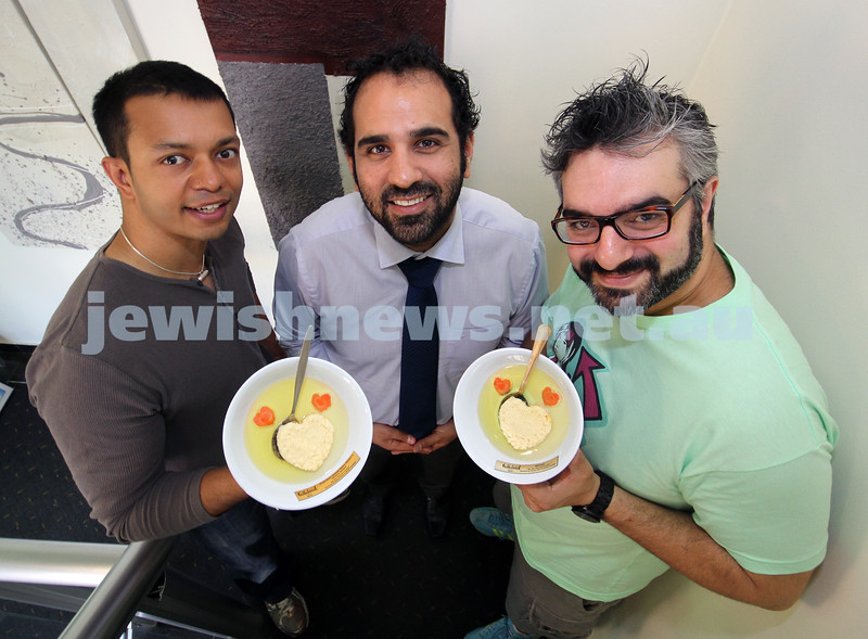 23-11-10. Celluloid Soup winners and winners of the Jewish News readers choice award. Abhijit Chattaraj (left) and Adrian Elton (right) with Festival organiser Adam Krongold. Photo: Peter Haskin
