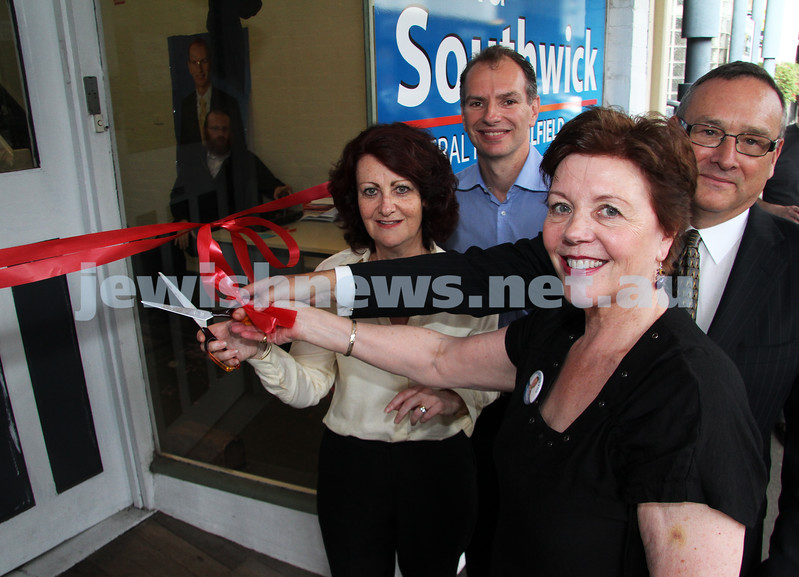 12-11-10. Cutting of the ribbon to officially launch David Southwick campaign. Liberal canidate for Caulfield in 2010 State election. From left: Louise Asher, David Southwick, Helen Shardey, Graham Smorgon. Photo: Peter Haskin
