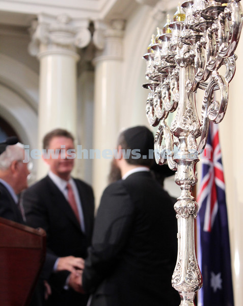 Chaniukah 2010. Chanukah at Queens Hall, Parliament House , Victoria. Rabbi Chaim Herzog from Chabad CBD lights the menorah with Premier Ted Baillieu. photo: Lochlan Tangas.